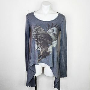 All Saints distressed draped graphic tee